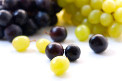 Red grape and white grape stock photography