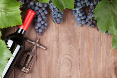 Red grape, wine bottle and corkscrew Royalty Free Stock Image