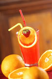 Red grapefruit cocktail. Red grapefruit and orange cocktail stock photo