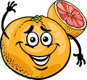 Red grapefruit fruit cartoon illustration Royalty Free Stock Photo