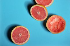 Red grapefruit halves stock photography