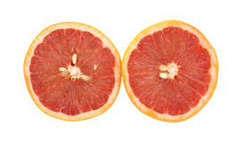 Red Grapefruit Halves Side By Side Stock Image