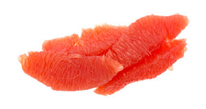 Red grapefruit sections on a white background Stock Photography