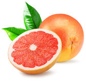 Red grapefruit with slice isolated on the white background Royalty Free Stock Photo