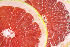 Red grapefruit slices. Stock Photos