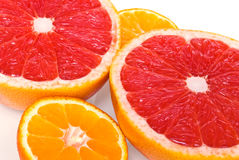 Red grapefruits and mandarines Stock Photography