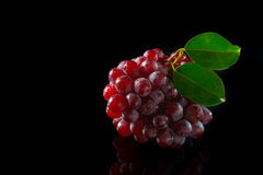 Red Grapes on black acrylic Stock Images