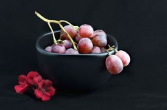 Red grapes in black bowl with flower. On black background Stock Images