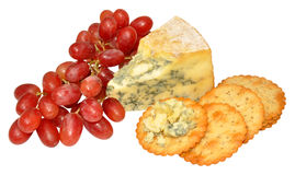 Red Grapes And Blue Stilton Cheese Royalty Free Stock Photos
