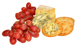 Red Grapes And Blue Stilton Cheese Stock Images