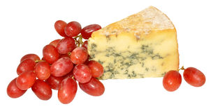 Red Grapes And Blue Stilton Cheese Stock Photo