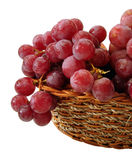 Red grapes with drop of water on basket isolated stock images