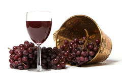 Red grapes and a glass of wine Stock Photos