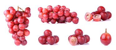 Red grapes isolated on a white background Royalty Free Stock Photos