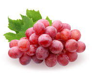 Red grapes with leaves isolated on white background Royalty Free Stock Photo