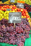 Red grapes at the local market in Valparaiso, Chile. Royalty Free Stock Photography