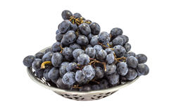 Red grapes in a metal bowl Royalty Free Stock Image