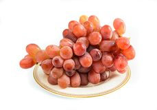 Red grapes on a plate Stock Photography