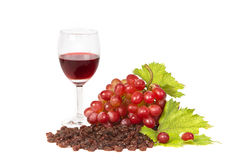 Red grapes and raisins with glass of wine Royalty Free Stock Photography