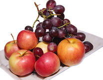 Red grapes and red apples Royalty Free Stock Images