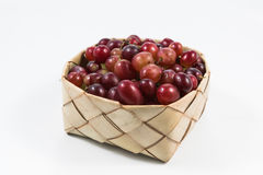 Red grapes in rice Kratib on white background.red grapes close u. P,Ubonratchathani,Thailand stock images