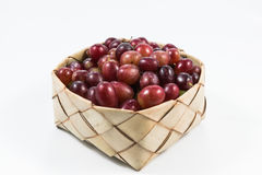 Red grapes in rice Kratib on white background.red grapes close u. P,Ubonratchathani,Thailand royalty free stock photos