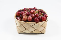 Red grapes in rice Kratib on white background,red grapes close u. P,Ubonratchathani,Thailand stock photo