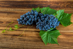 Red grapes with a vine. On a wooden background Stock Photography