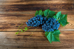 Red grapes with a vine. On a wooden background Royalty Free Stock Photography
