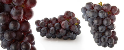 Red Grapes on white background Stock Images