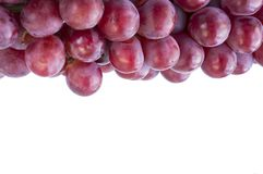 Red grapes on white background. Top view.  Bunch of grape on white background. Pink bunch grape on white stock image