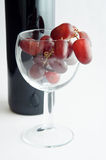 Red Grapes in Wine Glass Stock Photography