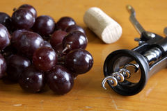 Red Grapes and Wine Tools Royalty Free Stock Image