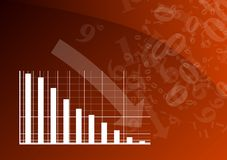 Red graph. Is falling down Royalty Free Stock Image