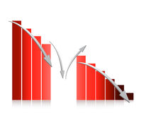 Red graph falling illustration design. On white background Stock Photos