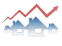 Red graph and houses Royalty Free Stock Photo