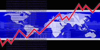 Red graph line and world map. A red graph line rising across a blue and white world map background Stock Photography
