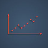 Red graph with shadow Stock Photography