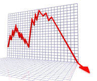 Red Graph Shows Sales Or Turnover. Red Graph Showing Sales Or Turnover Royalty Free Stock Images