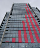 Red graph skyscraper Stock Photo