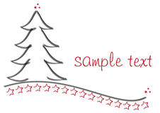 Red Graphic Christmas tree. Hand painted christmas tree with stars as graphic as a background Royalty Free Stock Images