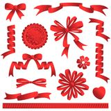 Red graphic design elements, ribbons, bows, banners, award. Graphic design elements of red colors, ribbons, bows, banners, award, heart, flower Royalty Free Stock Image