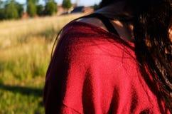 Red, Grass, Black Hair, Close Up