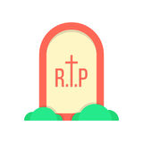 Red grave icon with bushes Stock Images