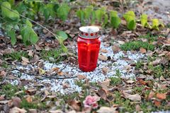 Red graveyard candle on white stony ground. Red graveyard candle on white stony ground with green leaves in the background Stock Image