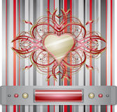 Red - gray background with heart. Royalty Free Stock Photo