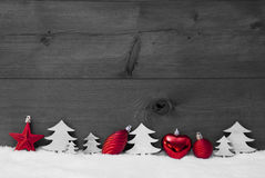 Red, Gray Christmas Decoration, Snow, Copy Space, Ball, Tree Stock Photography