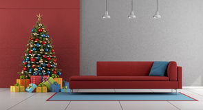 Red and gray christmas living room Stock Images