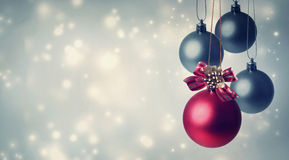 Red and gray Christmas ornaments Stock Photo