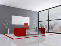 Red and gray city office vector illustration